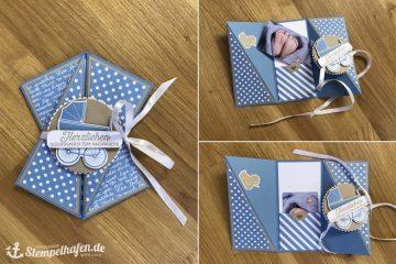 Diagonale Faltkarte - Babykarte Gutscheinkarte - Basteln mit Stampin' Up! Bastelbedarf
