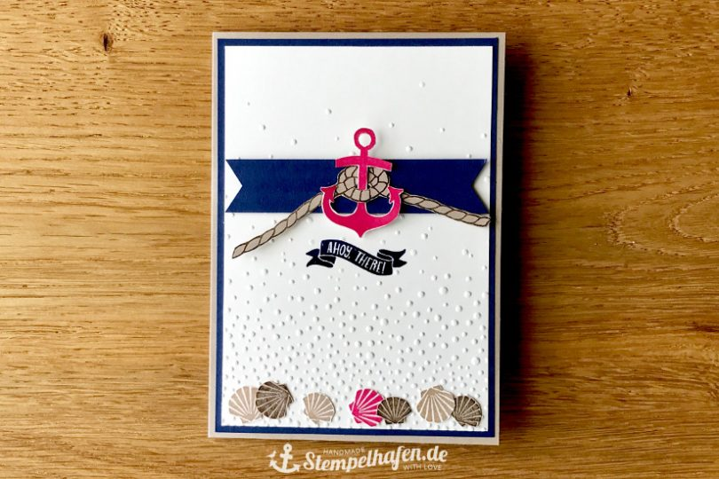 Inkspire Challenge Karte mit Anker Ahoy there  - DIY Hobby Bastelbedarf von Stampin' Up! - Basteln mit Papier im Stempelhafen aus Hamburg