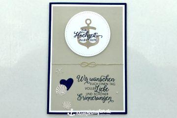 Maritime Hochzeit Glückwunschkarte  - DIY Hobby Bastelbedarf von Stampin' Up! - Basteln mit Papier im Stempelhafen aus Hamburg