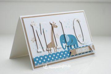 Eclipsekarte Zoo Babys Karte zur Geburt - DIY Hobby Bastelbedarf von Stampin' Up! - Basteln mit Papier im Stempelhafen aus Hamburg