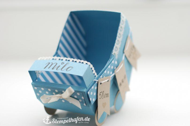 Babywagen Verpackung zur Geburt - Stubenwagen Kinderwagen YouTube Tutorial - DIY Hobby Bastelbedarf von Stampin' Up! - Basteln mit Papier im Stempelhafen aus Hamburg