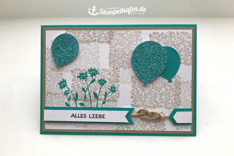 Geburtstagskarte mit Ballons Alles Liebe Glitzerpapier - DIY Hobby Bastelbedarf von Stampin' Up! - Basteln mit Papier im Stempelhafen aus Hamburg