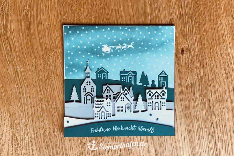 Weihnachtskarte 3D Weihnachten daheim - DIY Hobby Bastelbedarf von Stampin' Up! - Basteln mit Papier im Stempelhafen aus Hamburg