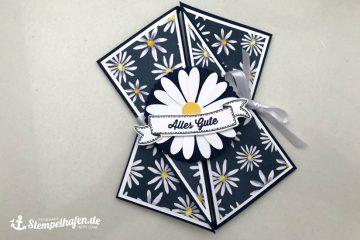 Diagonale Faltkarte Gänseblümchen - Karte Glückwunschkarte - DIY Hobby Bastelbedarf von Stampin' Up! - Basteln mit Papier im Stempelhafen aus Hamburg