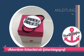 Anleitung YouTube Tutorial - Geschenkschachtel mit Akkordeonkarte - DIY Bastelbedarf von Stampin' Up! - Basteln im Stempelhafen aus Hamburg