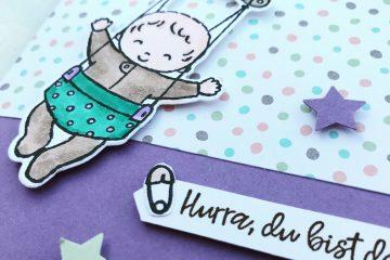 Hello Baby - Süßes Baby Karte zur Geburt - DIY Bastelbedarf von Stampin' Up! - Basteln im Stempelhafen aus Hamburg
