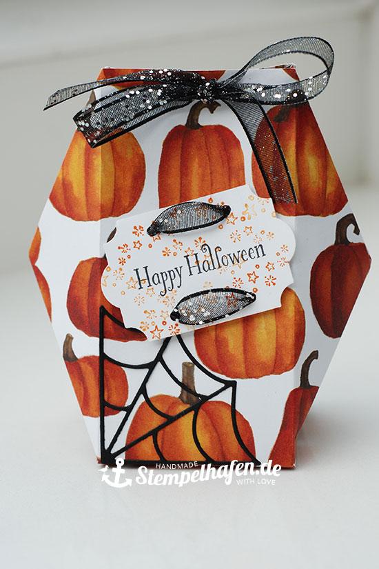 Facettenbox mit Spinnweben und Kürbissen für Halloween