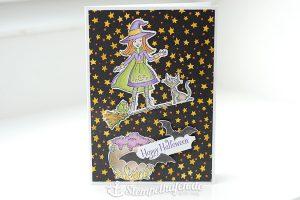 Karte mit Hexe auf Hexenbesen und Katze zu Halloween