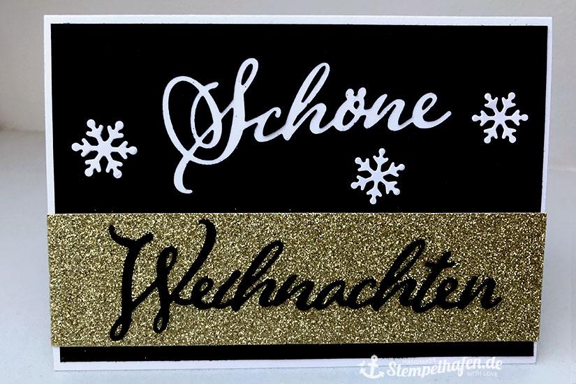 Schöne Weihnachten Karte in Glitzer Gold und schwarz weiß
