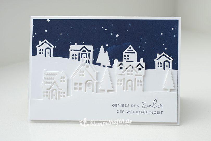 Geniess den Zauber der Weihnachtszeit - Karte mit Häusern ausgestanzt - Bastelbedarf von Stampin' Up! im Stempelhafen aus Hamburg