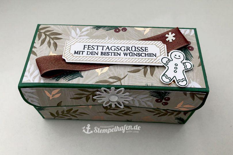 DIY Rechteckige Verpackung mit Verschluss und Lebkuchenmann von Stampin' Up! - Diagonale Klapp Verpackung