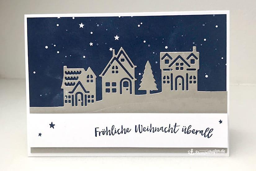 DIY 3D Weihnachtskarte Sternenhimmel von Stempelhafen - Bastelbedarf in Hamburg