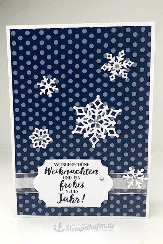 Blau Weiß DIY Karten zu Weihnachten - Stempelhafen Bastelbedarf Hamburg
