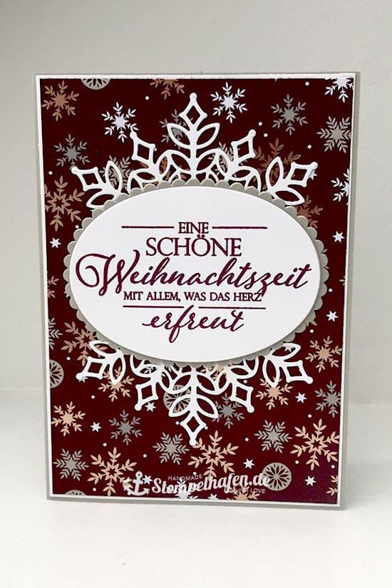 DIY Weihnachtskarten Schneeflocken - Schöne Weihnachtszeit - Stempelhafen Bastelbedarf Hamburg