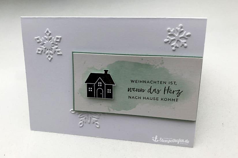 Aquarell Karte Weihnachten zu Hause fürs Herz - Basteln Karten selbermachen in Hamburg