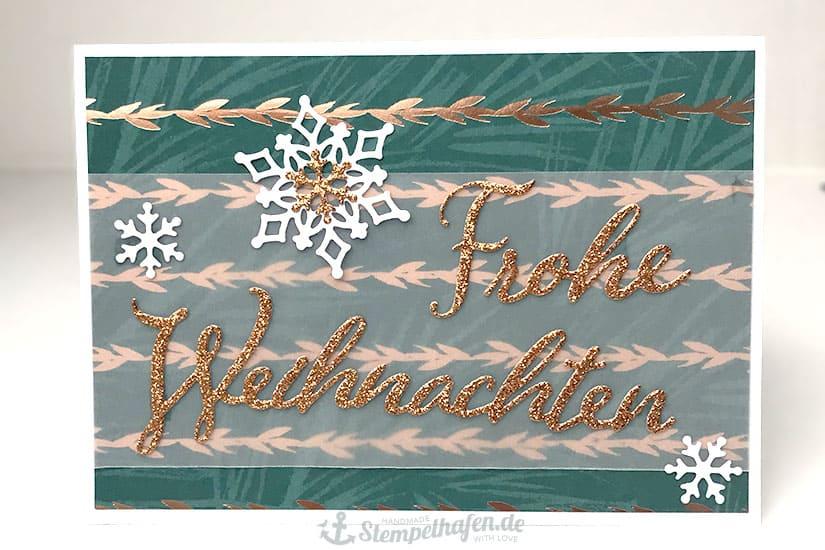 DIY Weihnachtskarte mit Glitzer Lettering Stanzteil von Stempelhafen - Bastelbedarf in Hamburg