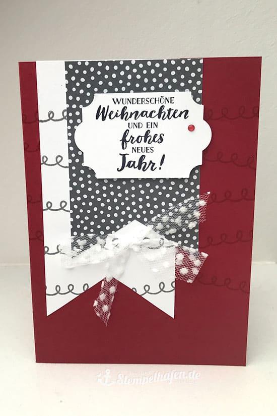 DIY Weihnachtskarte rot grau von Stempelhafen Bastelbedarf in Hamburg