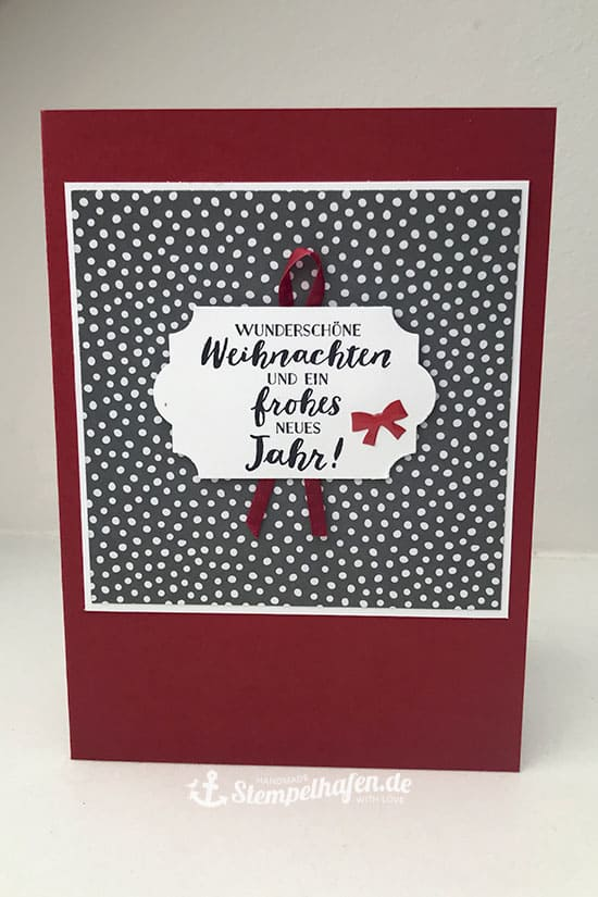 DIY Weihnachtskarten rot grau von Stempelhafen Bastelbedarf in Hamburg