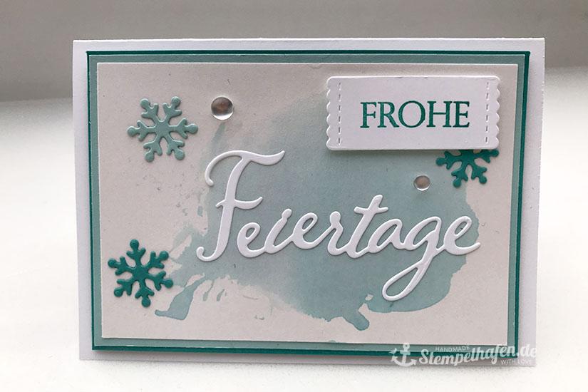 Karte Frohe Feiertage aquarell und Schneeflocken