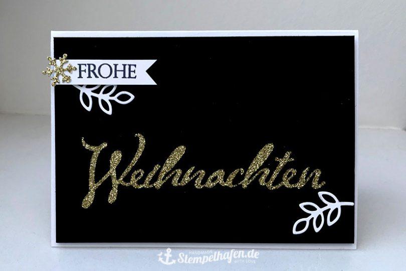Frohe DIY Weihnachten Karte in Glitzer Gold und schwarz weiß