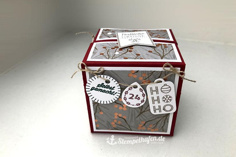 Quadratische Klapp Verpackung - Box mit Anhängern - Stampin' Up! Bastelbedarf in Hamburg