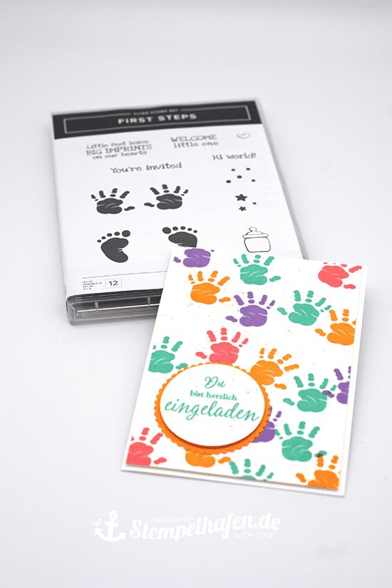 Einladungskarte zum Kindergeburtstag mit dem Stempelset First Steps. Eine Idee von Stempelhafen. Bastelbedarf in Hamburg.