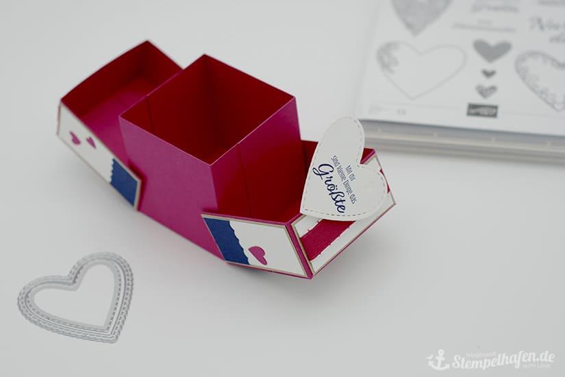 Anleitung Klapp Box zum Valentinstag - Doppelte Klappen Schachtel - Stempelhafen Bastelbedarf von Stampin' Up!