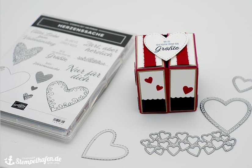 Anleitung Klapp Box zum Valentinstag Herzenssache - double-flip-top-box - Stempelhafen Bastelbedarf von Stampin' Up!